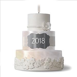 Hallmark Keepsake Christmas Ornament 2018 Year Dated Wedding Gift New Life Together Cake Porcelain