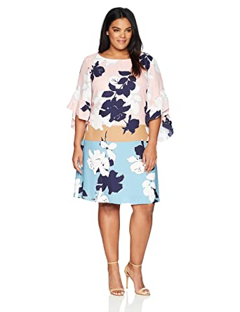 Taylor Dresses Women\'s Plus Size Color Block Abstract Floral CDC Shift Dress
