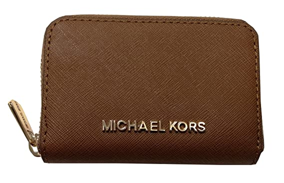 617aad16ade746 Michael Kors Jet Set Travel Zip Around Coin Case Leather Wallet Luggage