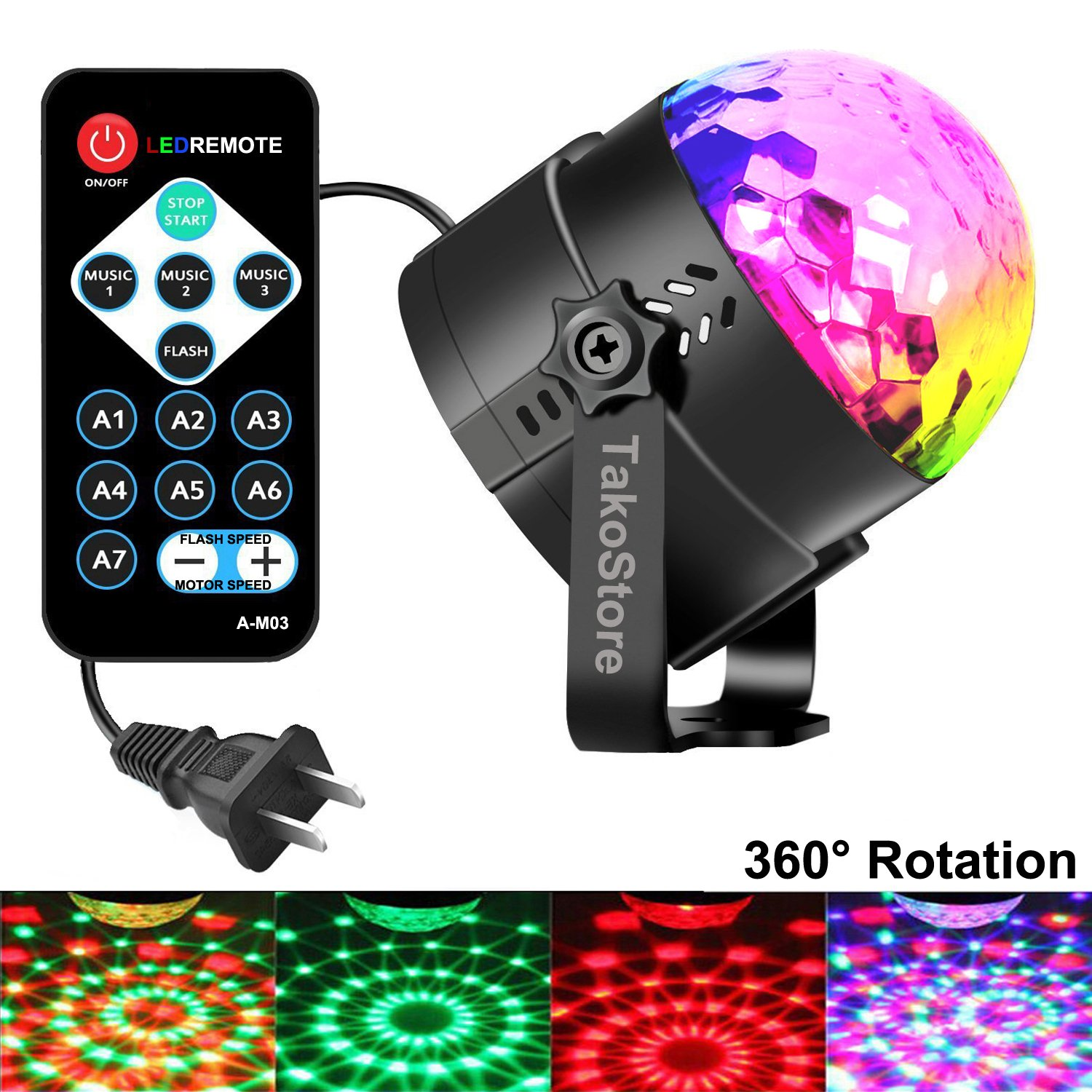 Mini disco ball lights,LED Party Lights,Strobe Light,Sound Actived Auto RGB Mini Rotating Magic Disco Ball Strobe Stage Light For Kids Birthday DJ Dancing Show,Club,Christmas,Birthday Party(with Plug)