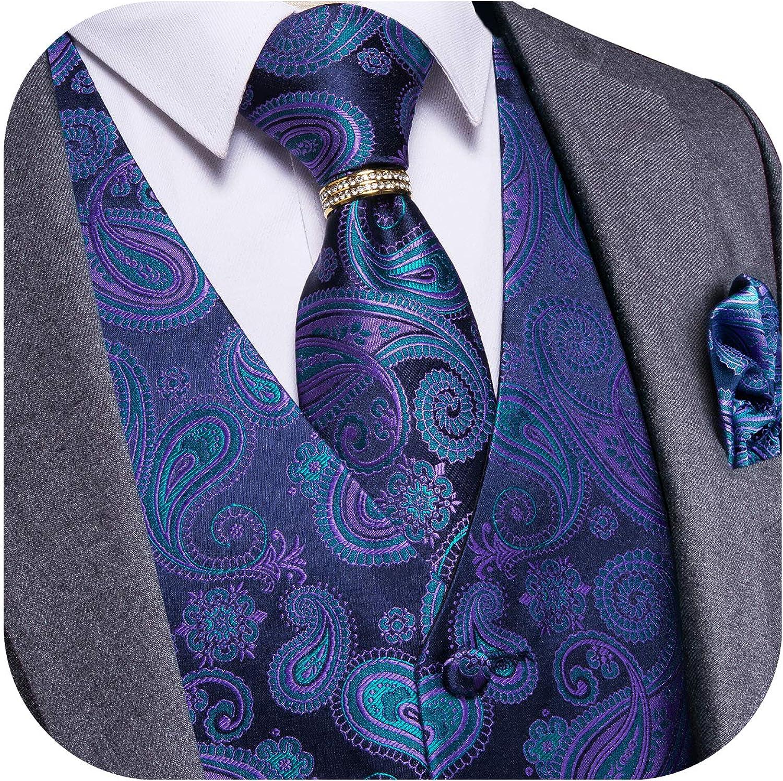 DiBanGu Men Paisley Waistcoat,6PCS Silk Suit Vest and Tie Set Dress Fashion Accessories Formal