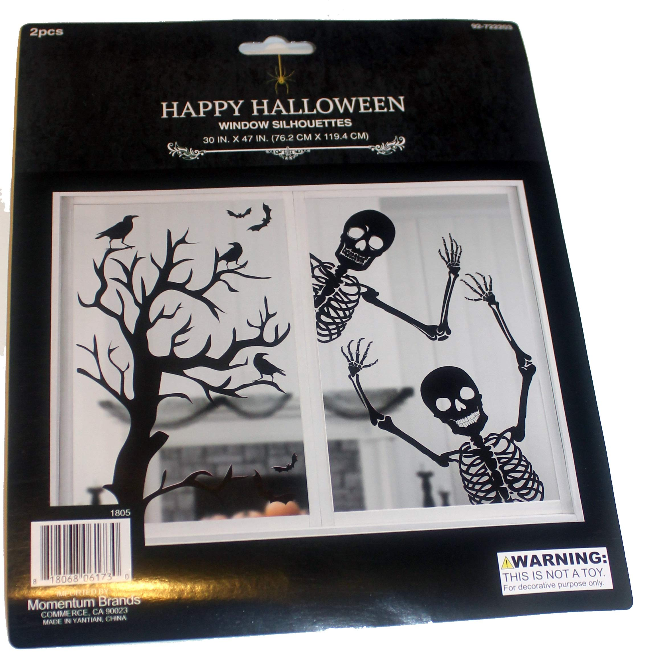 2 Pieces Window Silhouettes, Mural, Skeletons and Haunted Tree Halloween Decoration 30'' x 47''