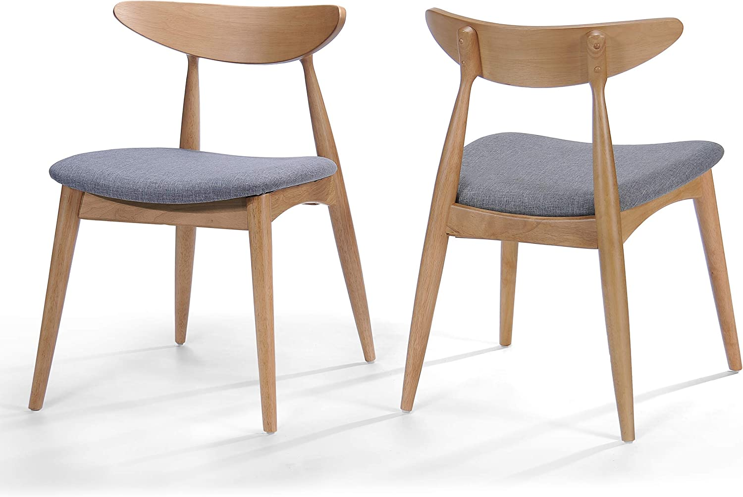 Christopher Knight Home Issaic Grey Fabric with Oak Finish Dining Chairs Set of 2