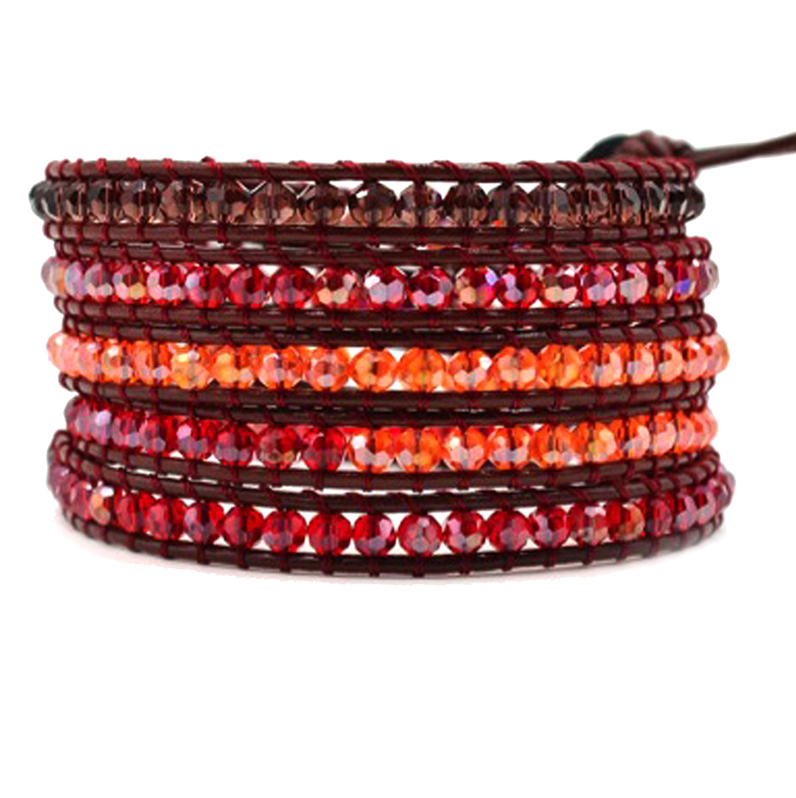 Red Crystal Wrap Bracelet Handmade Woven Brown Leather Multilayer 4 mm Bangle Boho Style