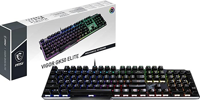 MSI Gaming Gear Backlit RGB LED Kailh Box White Mechanical Switches Anti Ghosting 104 Keys Brushed Aluminum Gaming Keyboard (Vigor GK50 Elite BW)