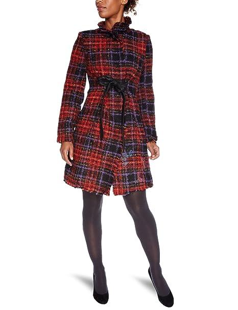 Desigual - Abrigo de manga larga con cuello con botones para mujer, color rojo 3032, talla 38: Amazon.es: Ropa y accesorios