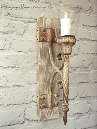 French Shabby Chic Wall Sconce Candle Holder Antique Vintage Style Wall Light Amazon Co Uk Lighting