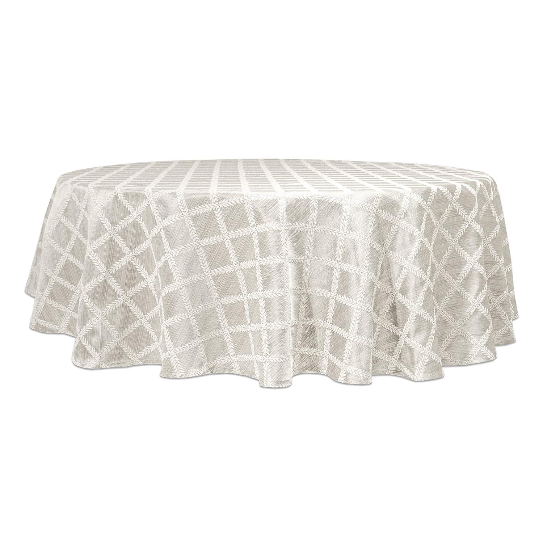 CDM product Lenox Laurel Leaf 70-Inch Round Tablecloth, Platinum big image