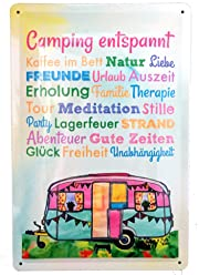 AnneSvea Camping Entspannt! Blechschild Metall Wohnwagen Vintage Deko Vanlife Camper Bus Womo Aquarell