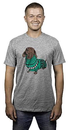 Amazon.com: Mens Wiener Dog In Christmas Sweater Dachshund T shirt ...