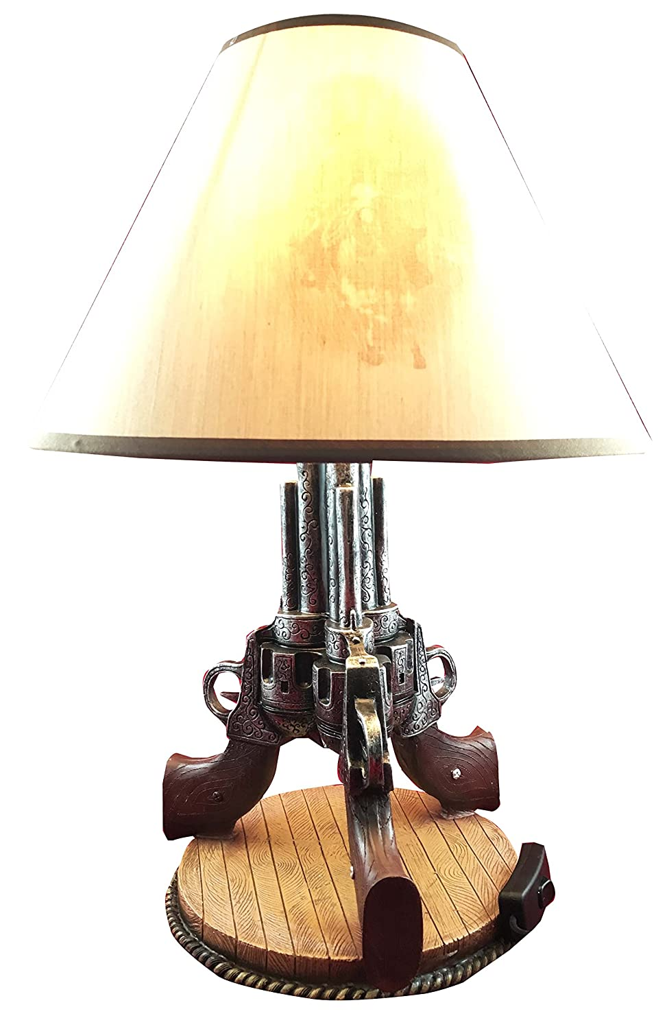"Triple Beretta Gun Six Shooters 19""H Desktop Table Lamp Cowboy Western Home Decor"