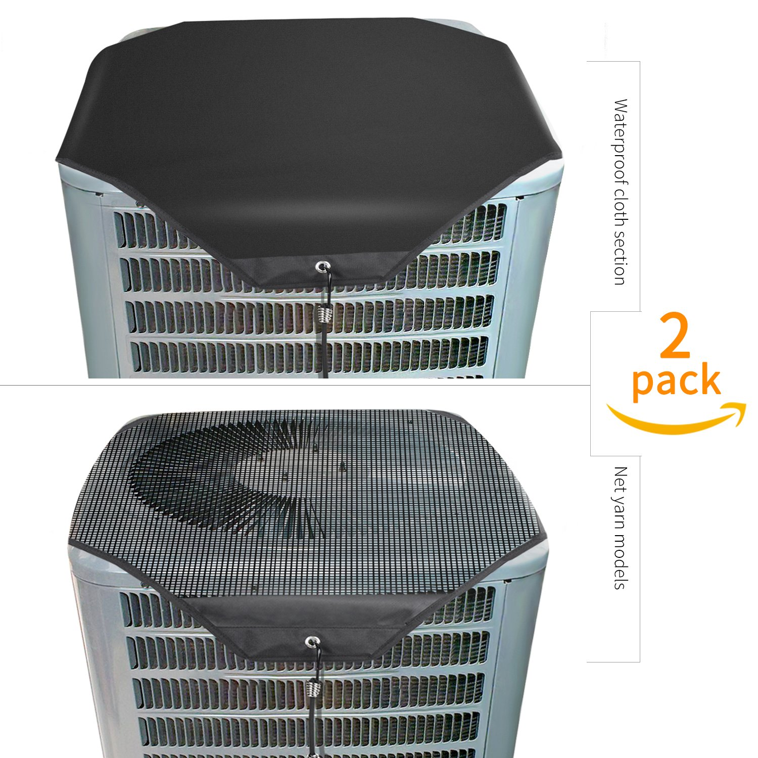 """Lanlin Ac Unit Cover - Conditioner Winter Waterproof Top Air Conditioner Leaf Guard Air Conditioner Cover with Open Mesh For Outside Units (2 Pack) (Set A, 32""""×32"""")"""