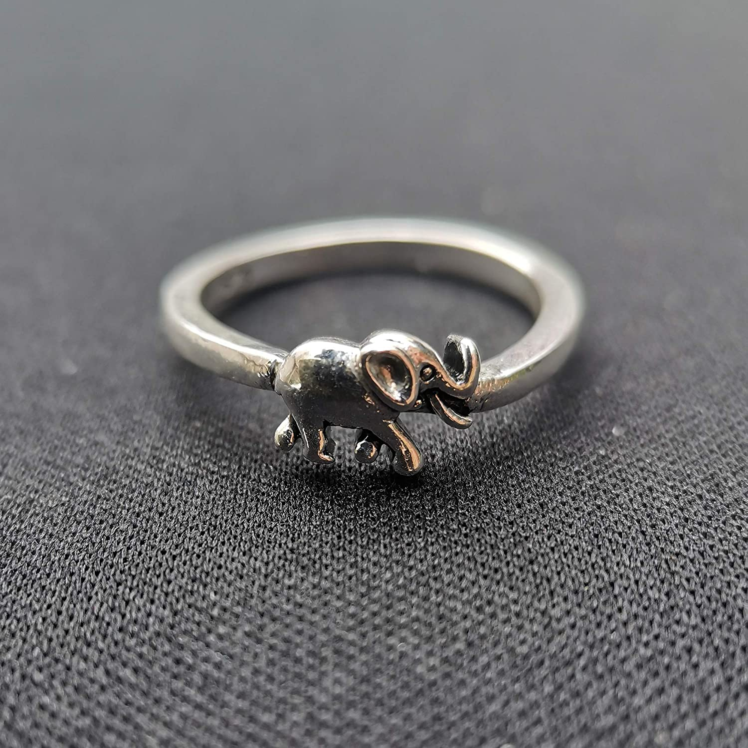 JESMING Vintage Elephant Silver Ring, 925 Sterling Silver Elephant Ring Stackable Rings Eternity Promise Rings for Her