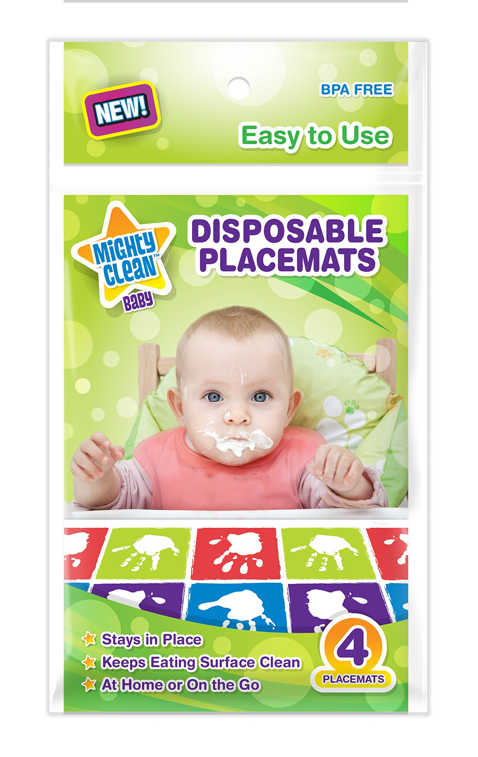 Mighty Clean Baby Disposable Placemats 24 Count (6 Packages of 4 Placemats)