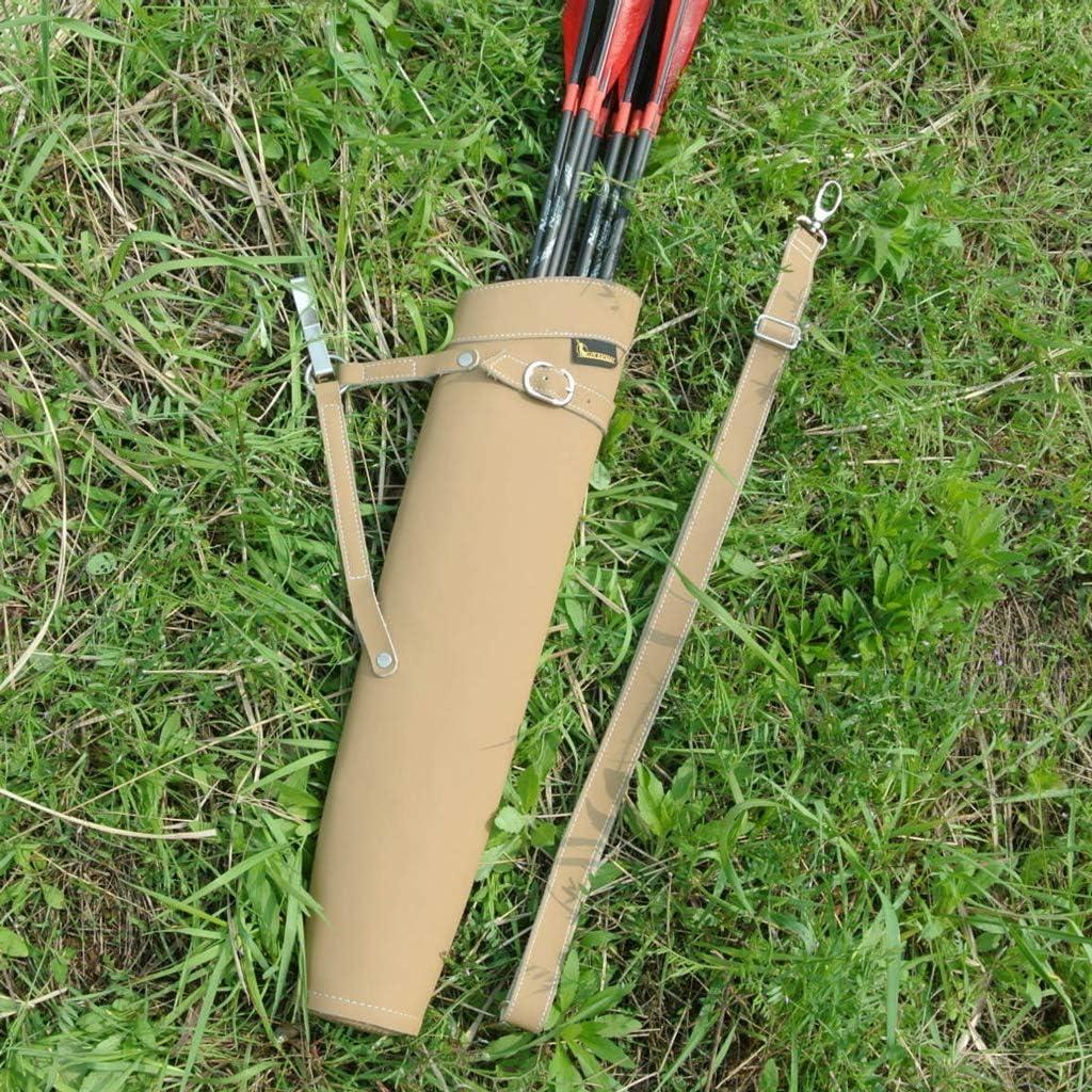 ZSZKFZ Puro Cuero Flecha Carcaj Hombros hacia Atrás Diseño 52X13cm En Negro/Amarillo Pueden Contener hasta 30 Pcs Flechas For Tiro con Arco Caza Disparos