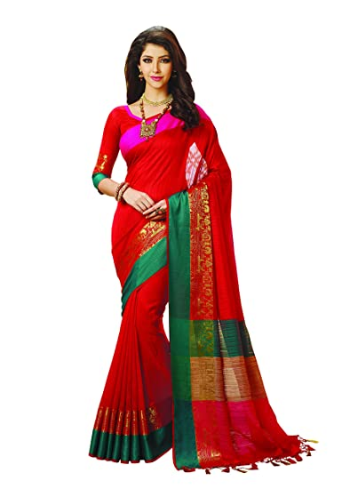 be9c89b1b7 Meghdoot Red Colour Artificial Tussar Silk Saree (ST801_RED): Amazon.in:  Clothing & Accessories