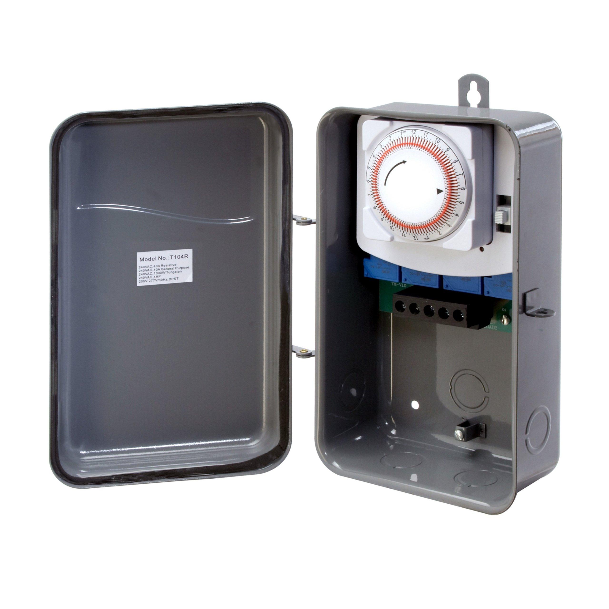 Westek TM104R 208 to 277 Volt DPST 40 AMP Hardwire Outdoor Heavy Duty Mechanical Timer Switch, Gray