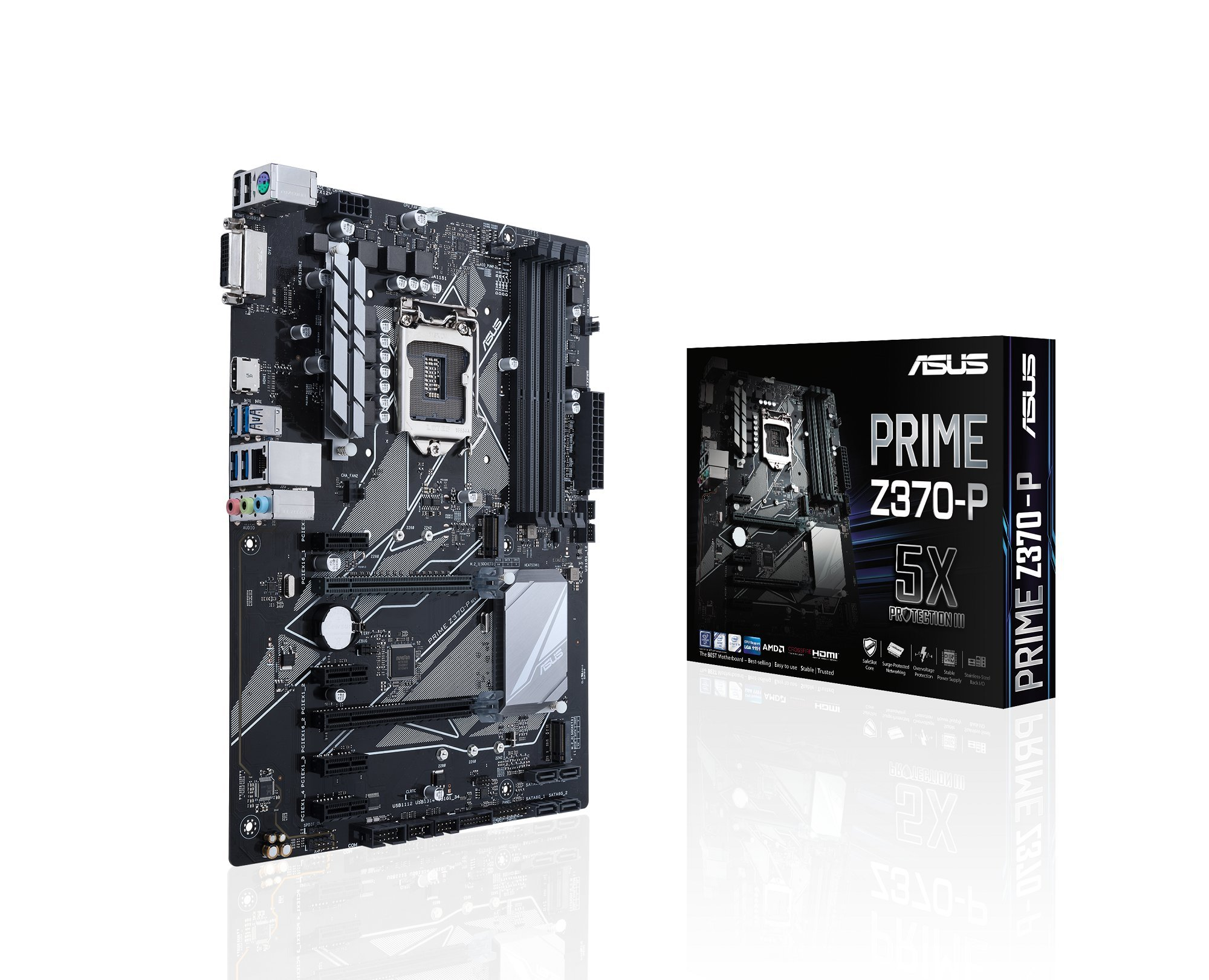 ASUS PRIME Z370-P LGA1151 DDR4 HDMI DVI M.2 Z370 ATX Motherboard with USB 3.1 for 8th Generation Intel Core Processors by Asus (Image #1)