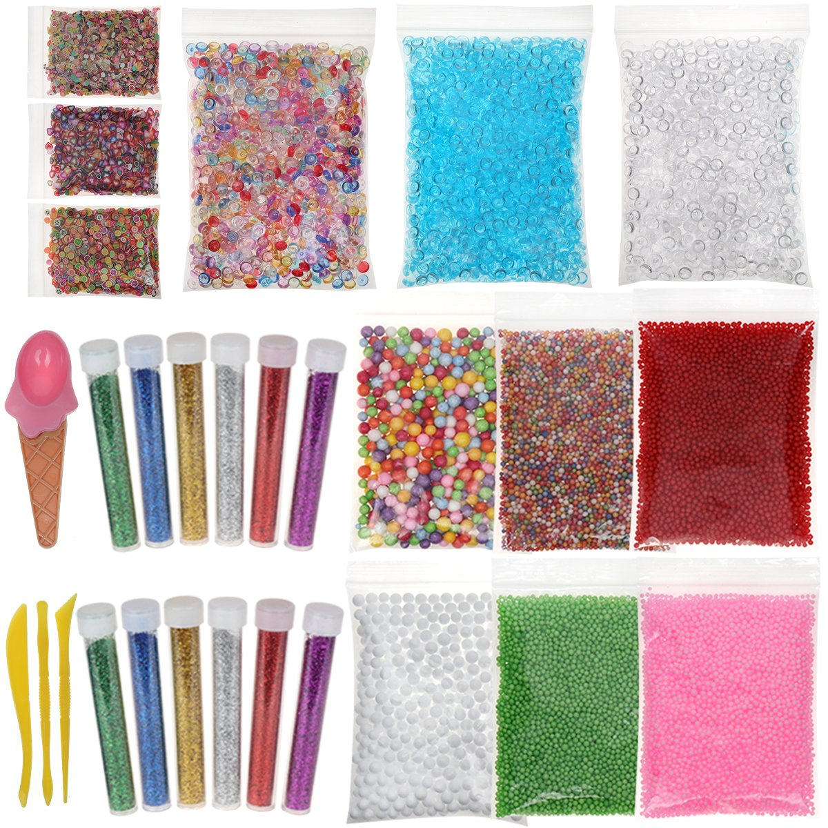 28 Packs Slime Making Supplies for Slime Staff DIY, Foam Beads Fishbowl Glitter and Fruit Slices for Slime by Hulluter