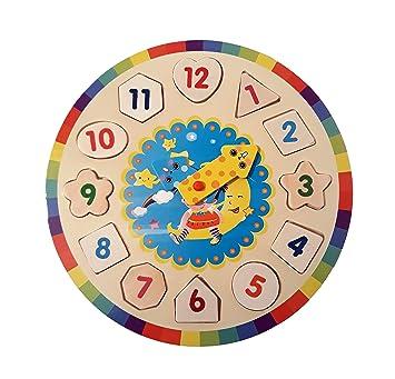 juguete de Madera Reloj Aprendizaje Puzzle Educativo Infantil para Aprender la Hora niños y niñas