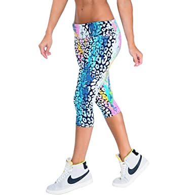 0c7b06dc20f76 Low Rise Printed Fitness Women Patterned Sports Wear Capri XS S Animal  Jungle Print