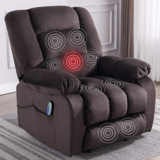 Amazon Com Anj Massage Recliner Chair With Heat And Vibration Soft Fabric Lounge Chair Overstuffed Sofa Home Theater Seating Chocolate Kitchen Dining