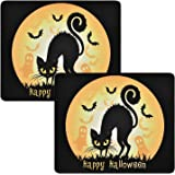 2 Pack Happy Halloween Mouse Pad Moon Bat Black Cat Ghost Mouse Pad Non-Slip Rubber Gaming Mouse Mat with Stitched Edges for