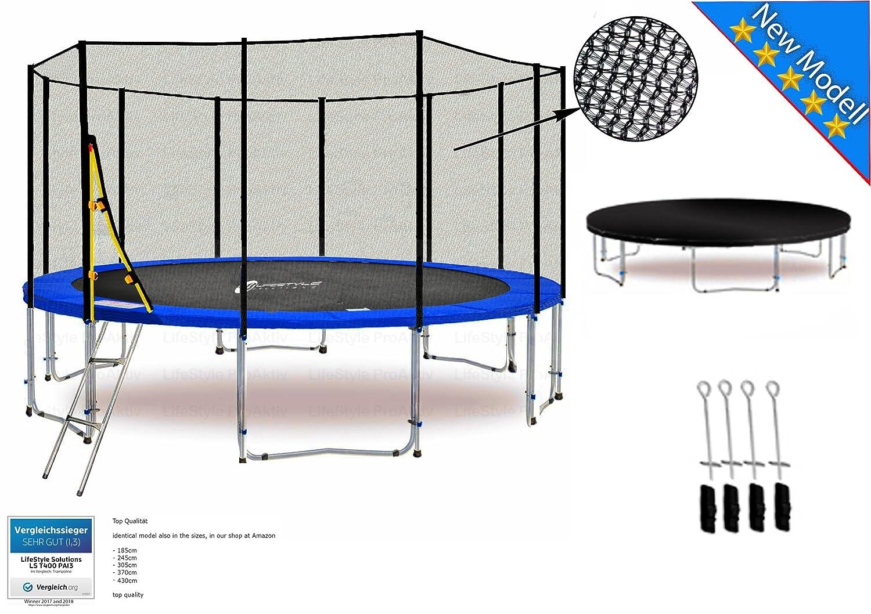 LS-T370-PA12 (BD) DELUXE LifeStyle ProAktiv Garten- Trampolin 370 cm - 12ft - Extra Starkes Sicherheitsnetz - 180kg Traglast - Neu