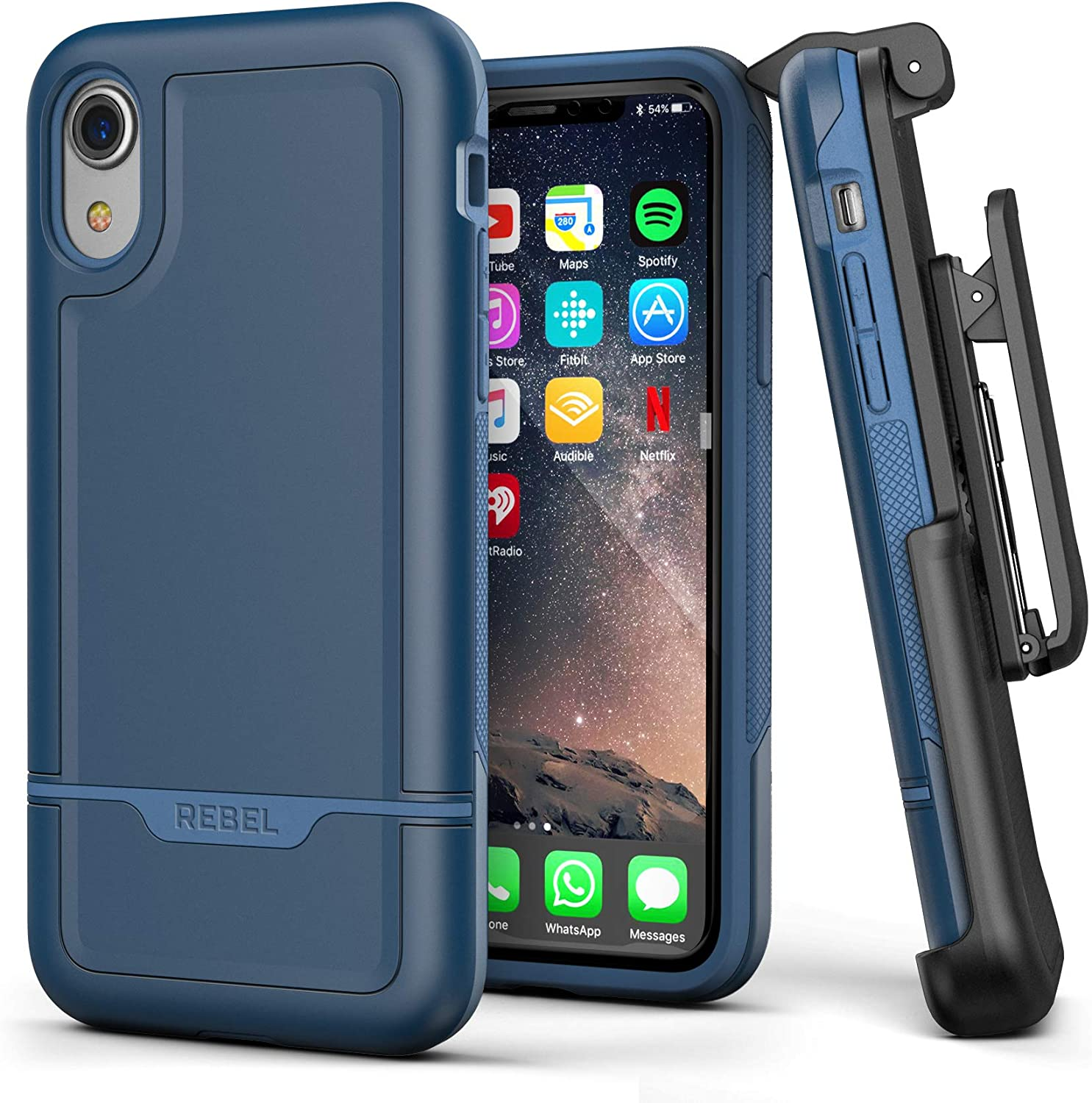 Encased iPhone XR Belt Clip Rugged Holster Case, Heavy Duty Protective Cover Holder (Rebel Armor Series) Blue