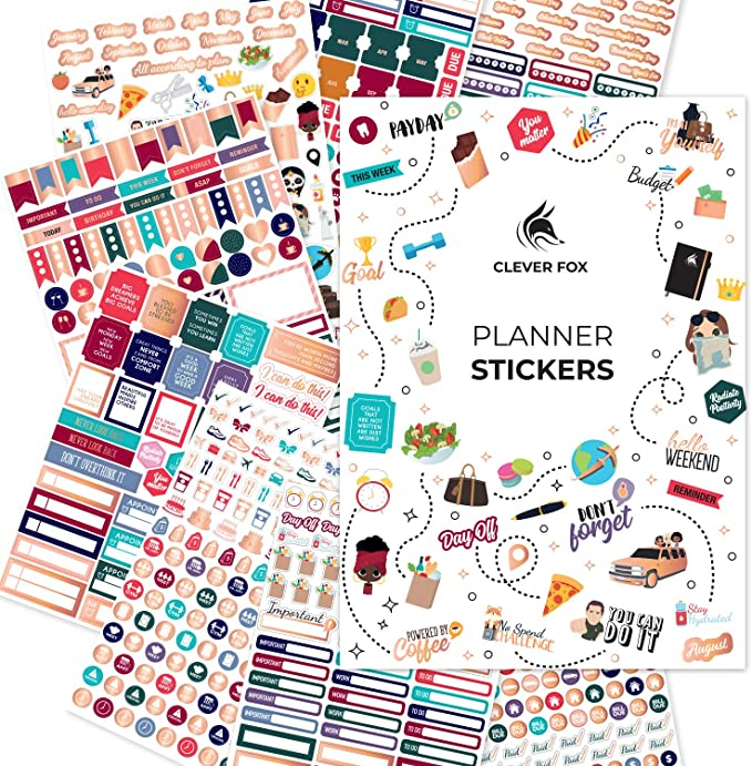 Amazon.com: Clever Fox Planner Stickers - Monthly, Weekly & Daily Planner Stickers 14 Sheets Set of 1360+ Unique Stickers by Clever Fox (Value Pack): Office Products