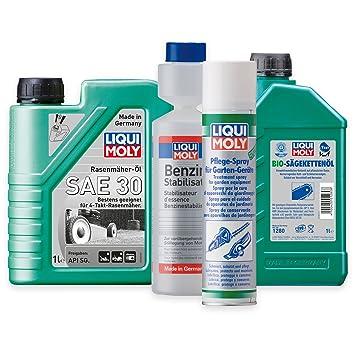 Liqui Moly Cortacésped aceite SAE 30 1264 1L + Spray de cuidado de dispositivos para jardín
