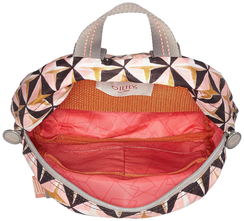 Oilily Ruffles Geometrical Backpack Svz, Sacs portés dos femme, , 9x26x22 cm (B x H T)