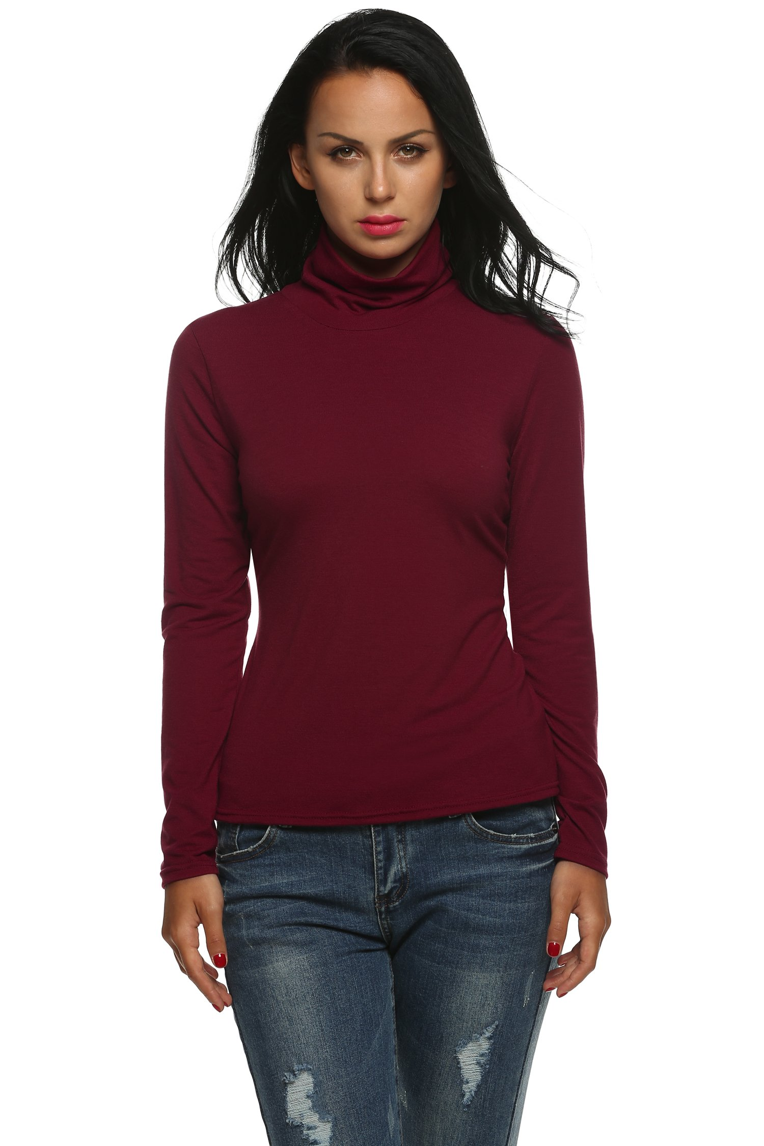 Goldenfox Lightweight Softwear for Womens Wine Red Blouses Cotton Solid Tops(Wine Red, Large)