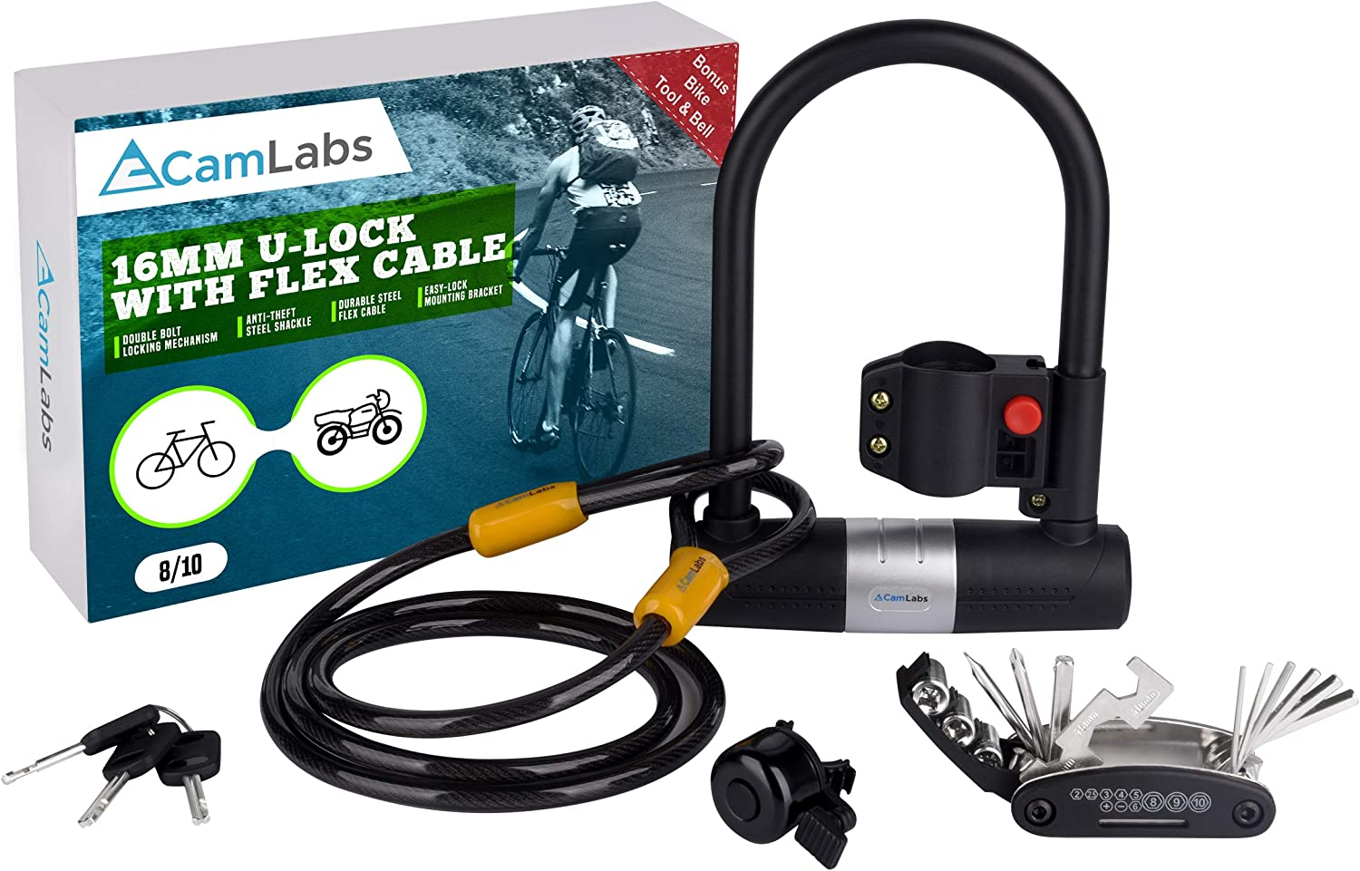 Bike U Lock Cable Bicycle Safety Tool Lock 3Ft 10mm w//2 keys Anti-Theft