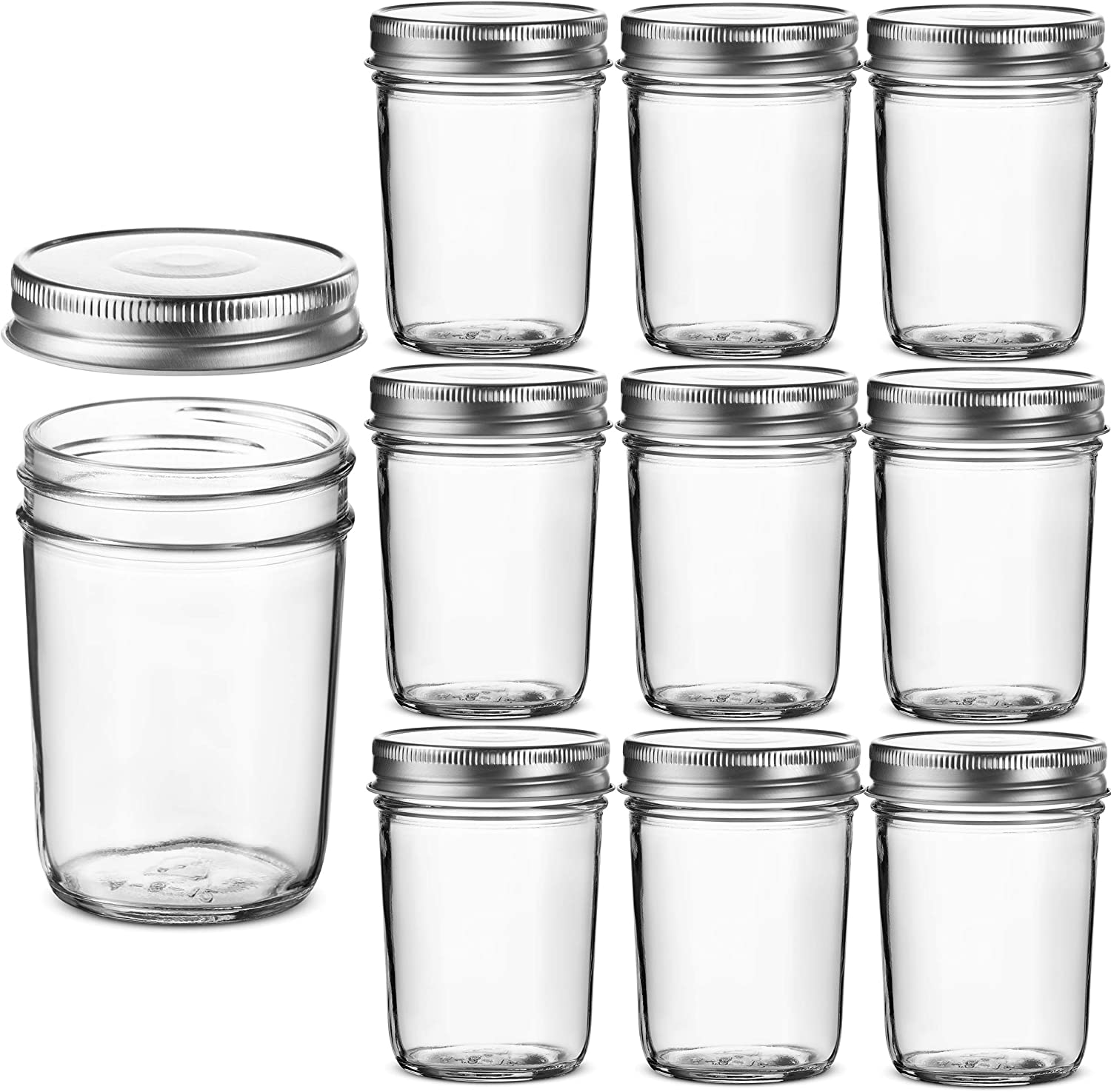 Glass Regular Mouth Mason Jars, 8 Ounce Glass Jars with Silver Metal Airtight Lids for Meal Prep, Food Storage, Canning, Drinking, for Overnight Oats, Jelly, Dry Food, Spices, Salads, Yogurt (10 Pack)