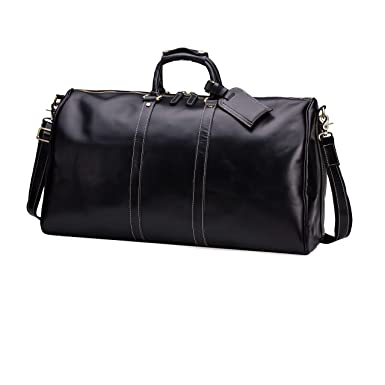 de97acbe4e Huntvp Mens Leather Travel Duffel Bag Vintage Weekender Carry On Brown Luggage  Bag (Black)