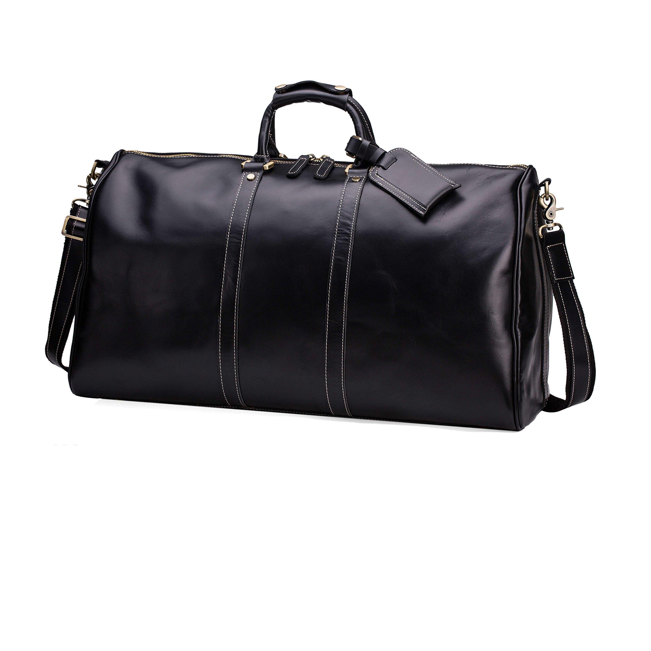 Huntvp Mens Leather Travel Duffel Bag Vintage Weekender Carry On Brown Luggage Bag (Black)