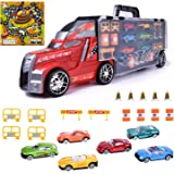 Toy Truck Transport Car Carrier 22 pcs Toy Truck includes 6 Cars, a map and Accessories -Toy Trucks Fits 28 Toy Car Slots - Great Car Toys Gift for Boys and Girls - Original - Red