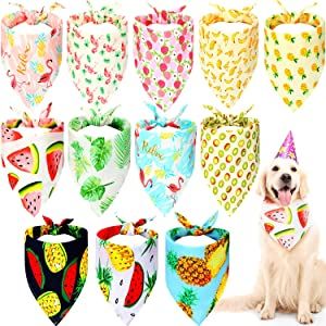12 Pieces Dog Bandanas Flamingo Fruit Hawaii Pattern Cooling Summer Style Soft Dog Triangle Scarfs for Pet Puppy Boys and Girls