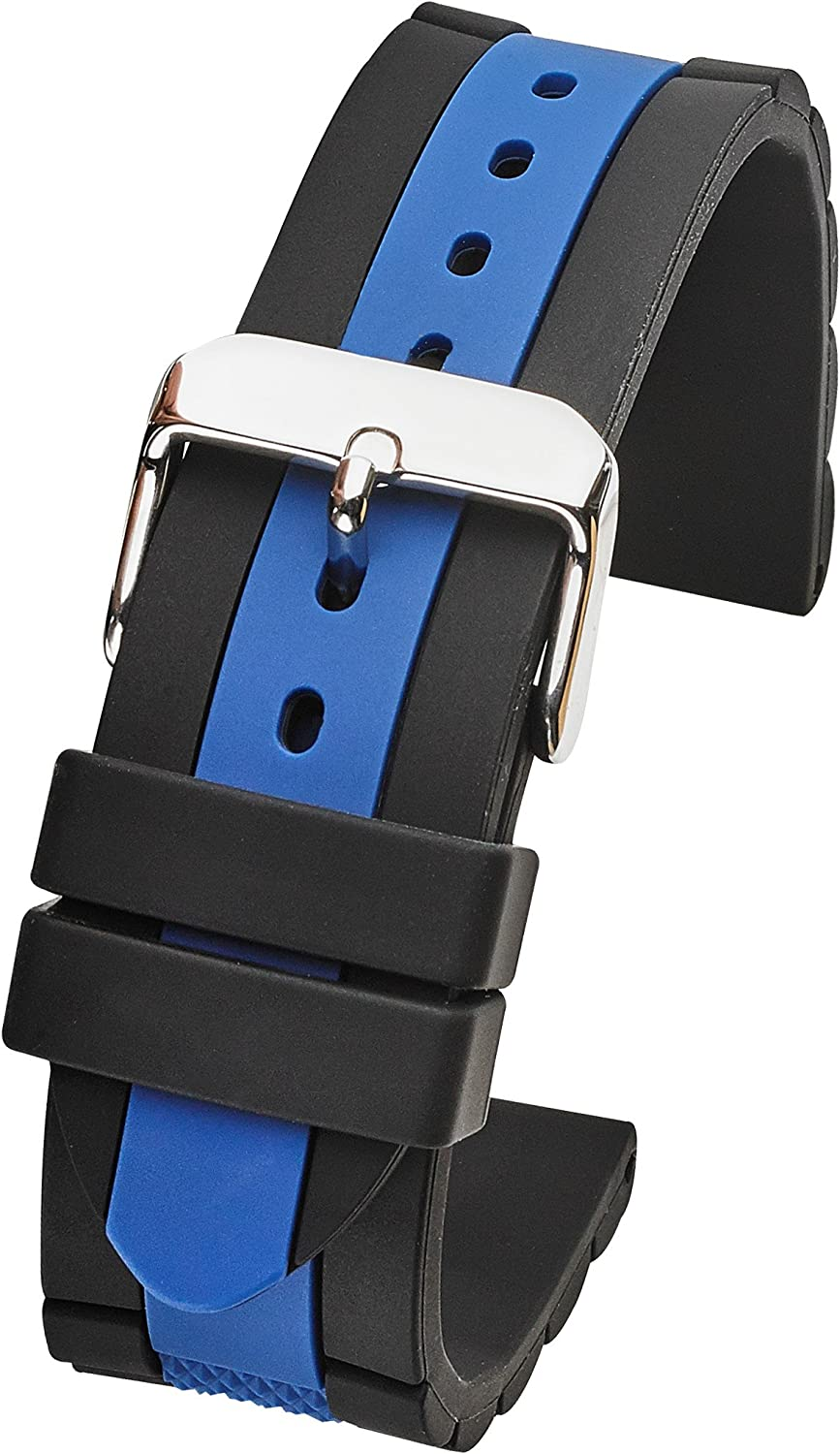 Alpine Silicone Sporty Waterproof Watch Band - Sizes 20mm, 22mm & 24mm