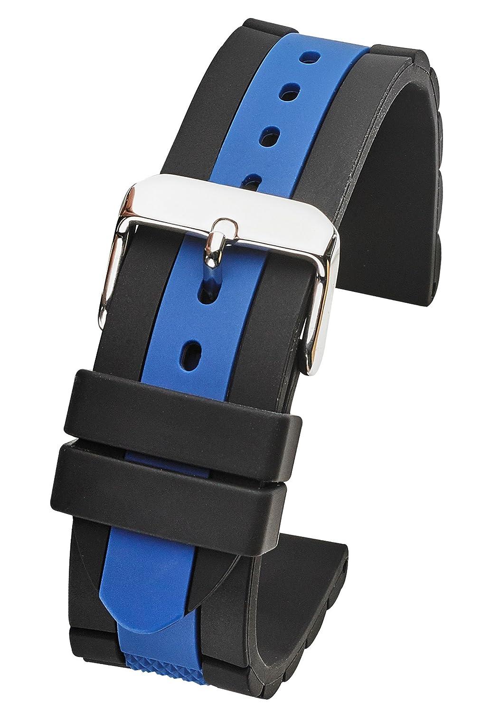 シリコンスポーティ防水時計バンド – サイズ20 mm、22 mm & 24 mm 20MM ブラック-ブルー 20MM|ブラック-ブルー ブラック-ブルー 20MM B078RZ4DMV