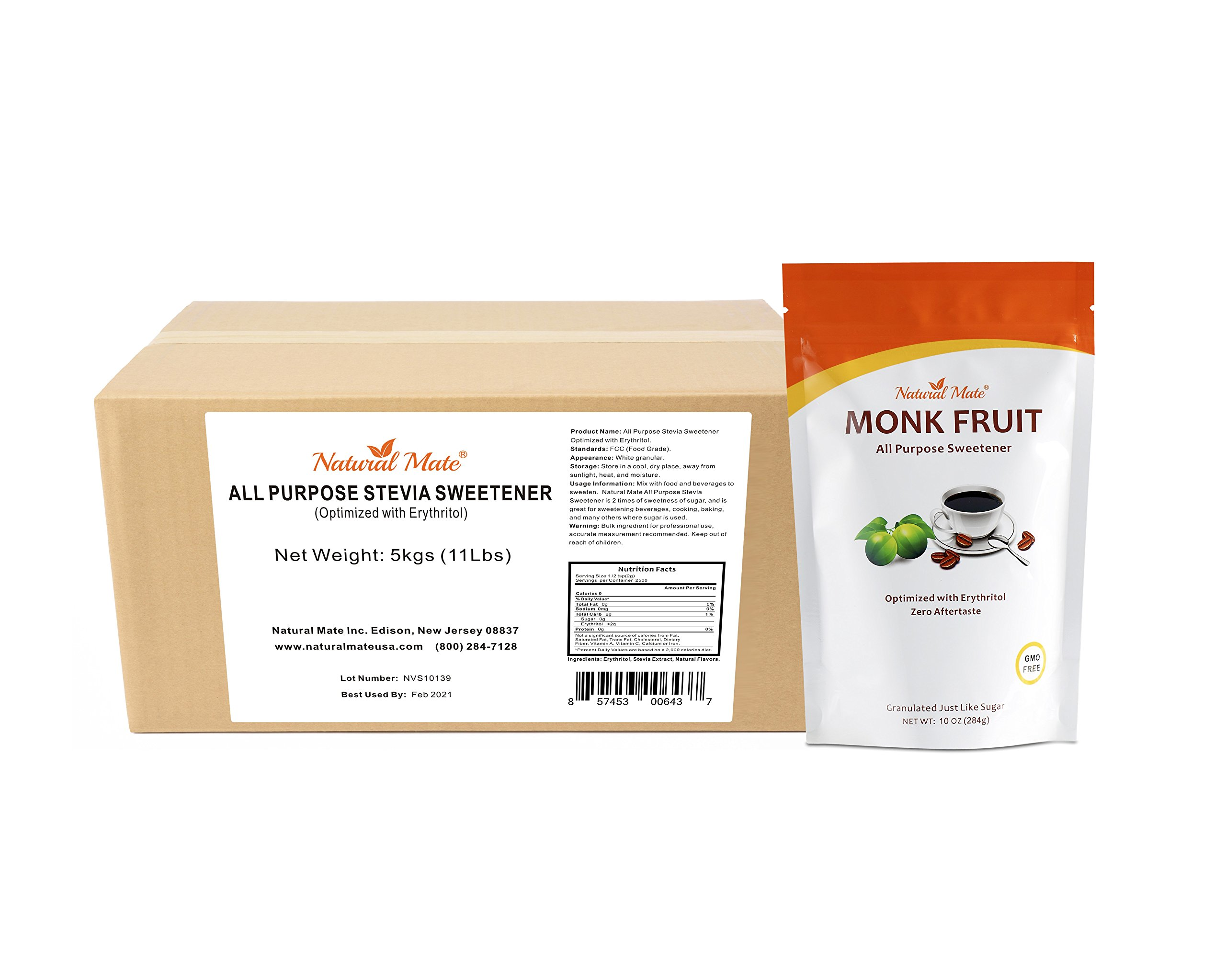 Natural Mate Stevia All Purpose Natural Sweetener, 5kgs/11Lbs | Free Gift: Monk Fruit Sweetener (10oz) by Natural Mate