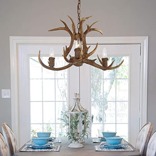 Safavieh CHA4002A Lighting Collection Makani 21.5 Antler Brown Chandelier