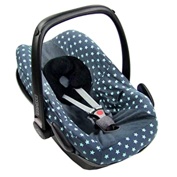 Bambiniwelt Sommerbezug Schonbezug Bezug Aus Frottee Kompatibel Mit Maxi Cosi Pebble Sterne Grau Türkise Sterne Xx Baby