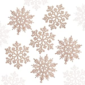Blulu 52 Pieces Christmas Glitter Snowflake Plastic Snowflake Ornaments Snowflake Hanging Decorations Christmas Tree Decorations for Christmas Party and Home Decor (Champagne)