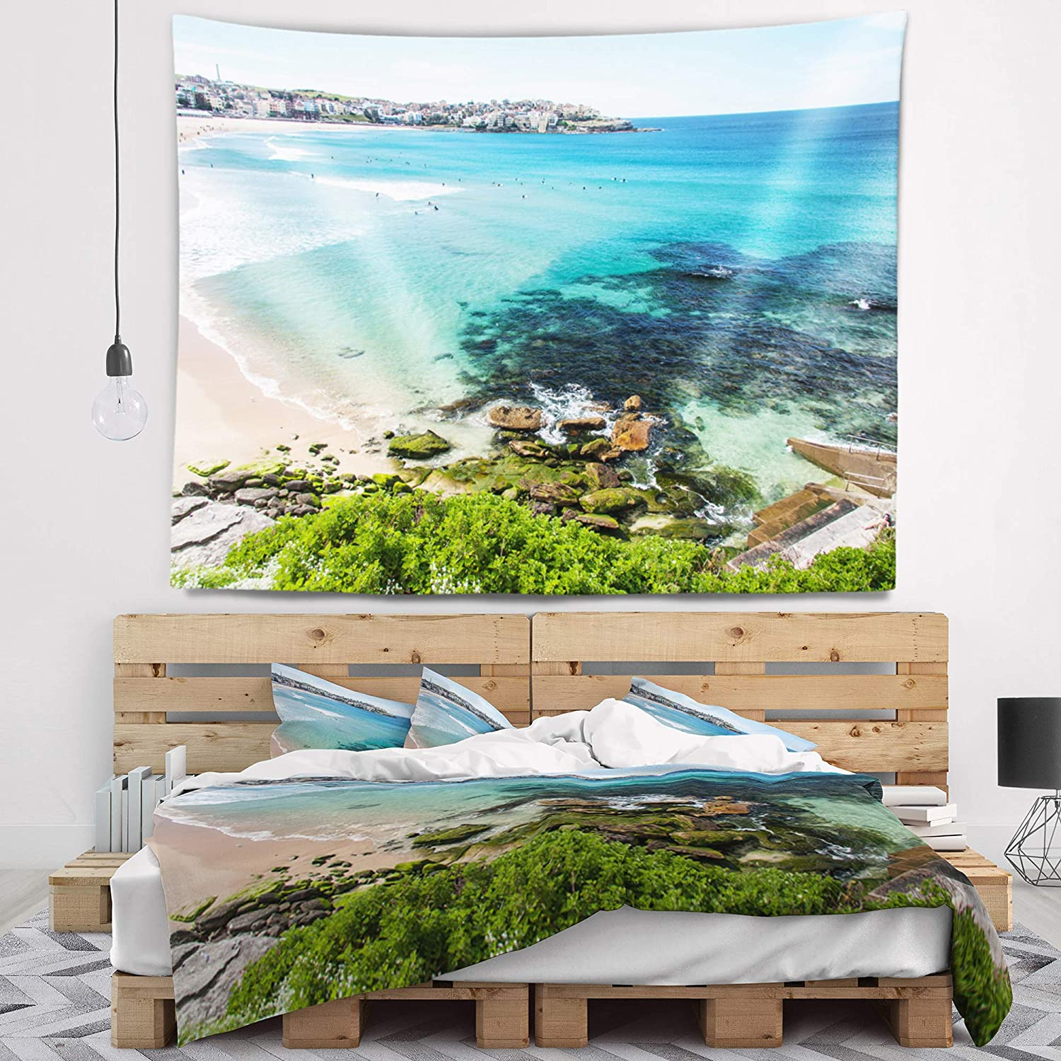 Designart 'Expansive Sydney Bondi Beach' Seashore Tapestry Blanket Décor Wall Art for Home and Office, Created On Lightweight Polyester Fabric x Large: 80 in. x 68 in
