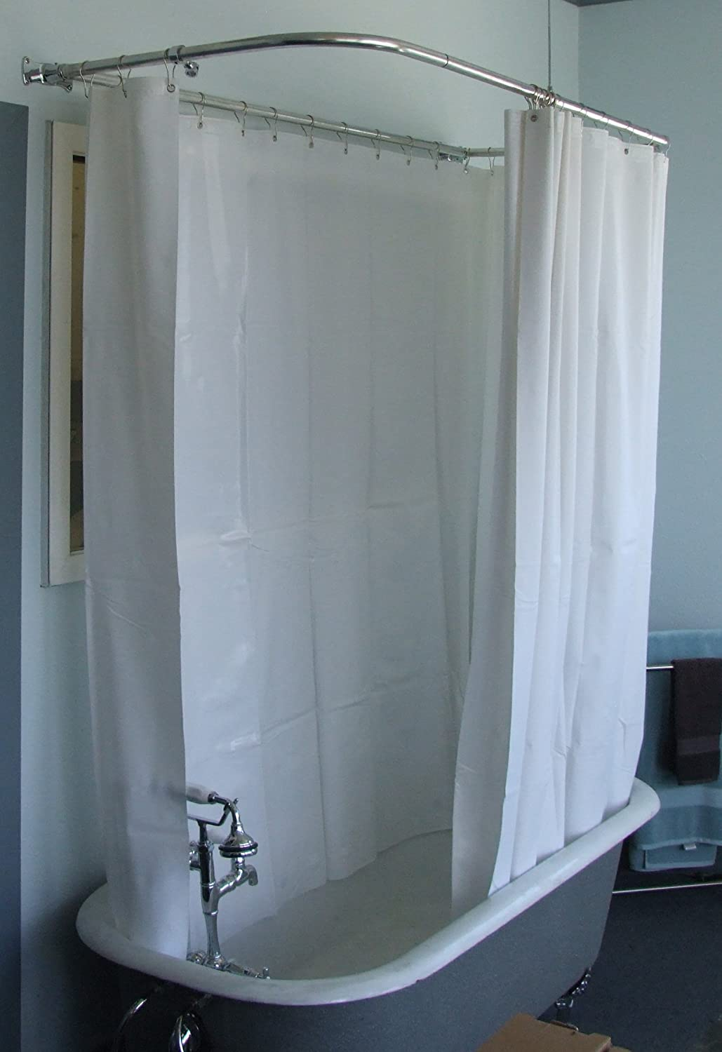 clawfoot tub shower curtain rod