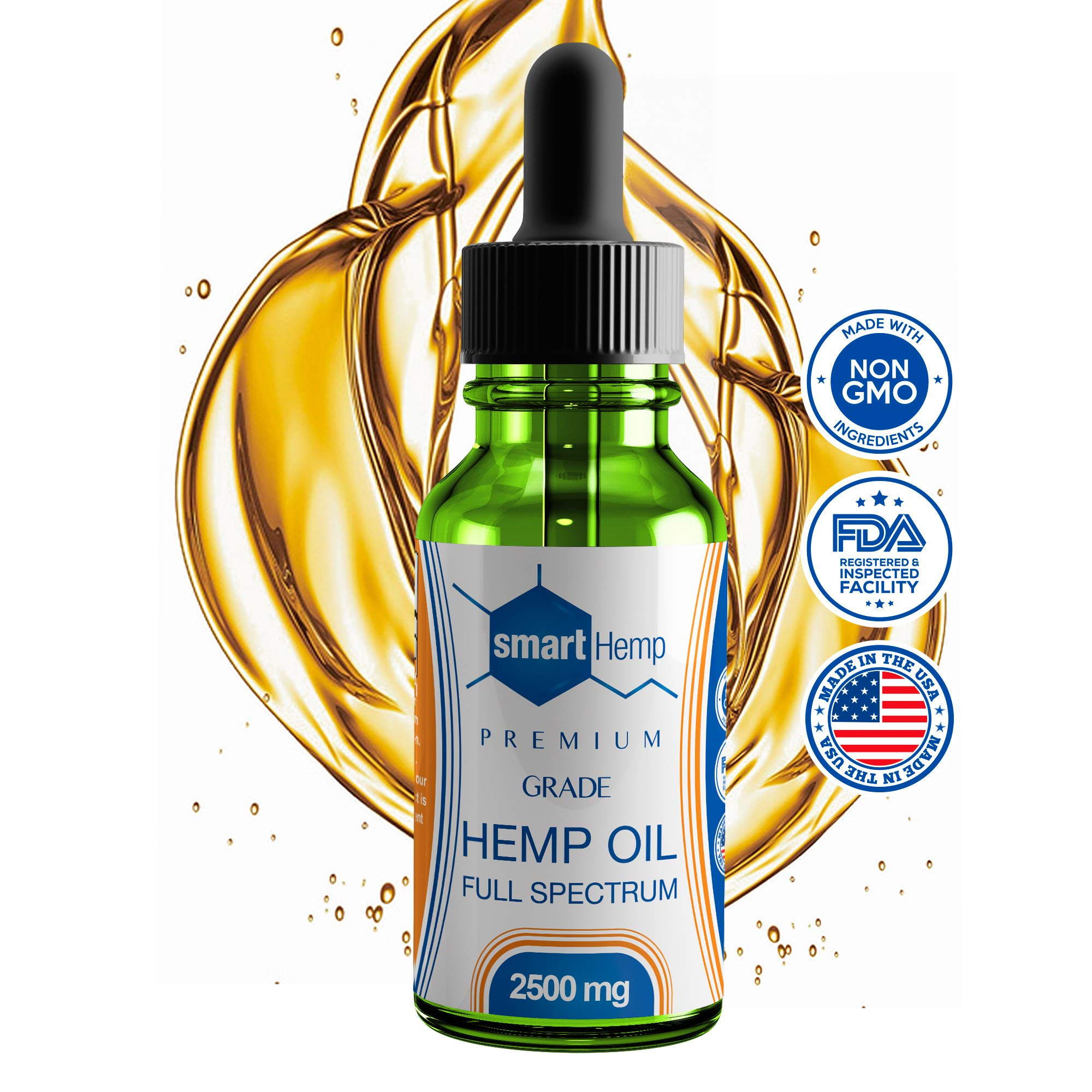 Hemp Oil Premium Grade Full Spectrum Omega-3 and Omega-6 All Natural for Pain and Stress Relief, Sleep, Anxiety (2500 mg, Peppermint)