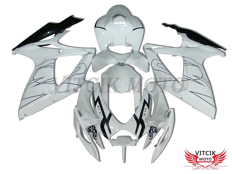 VITCIK (フェアリングキット 対応車種 スズキ Suzuki GSX-R750 GSX-R600 K6 2006 2007 GSXR 600 750 K6 06 07) プラスチックABS射出成型 完全なオートバイ車体 アフターマーケット車体フレーム 外装パーツセット(ホワイト & ブラック) A062   B071YTCR1X