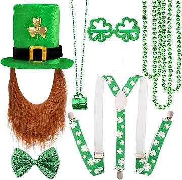 Shamrock Accessories St Patrick/'s Day Irish Leprechaun Fancy Dress Hat Glasses